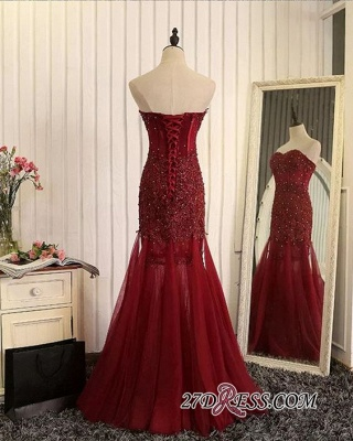 Luxury Sweetheart Mermaid Prom Dress UK Tulle With Lace Appliques_2
