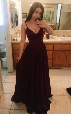 Sleeveless Long V-Neck Maroon Luxury Prom Dress UK BA8333_2