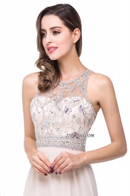 Chiffon Sleeveless Light-Champagne Long Crystals Prom Dress UKes UK BA6131_6