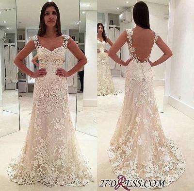 Backless Lace Straps Elegant Sexy Mermaid Sleeveless Wedding Dresses UK_1