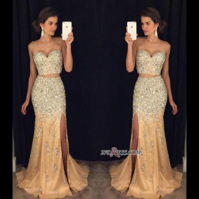 Mermaid Side-Slit Sweetheart Crystal Two-Pieces Luxury Prom Dress UK AP0_1