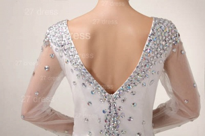 Mini V-Neck Sheath Homecoming Dress UKes UK Long Sleeve Crystal Cocktail Gowns_6