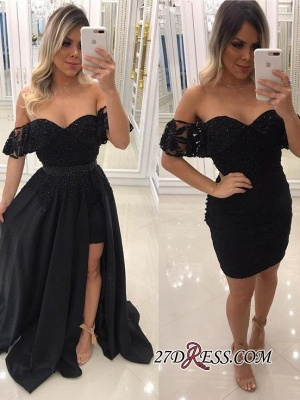 Off-The-Shoulder Beaded Chic Side-Slit Black A-Line Evening-Dress UKes UK BA7540_3