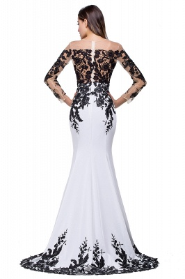 Gorgeous Long Sleeve Mermaid Evening Dress UK Black Appliques Mother Dress UK_6