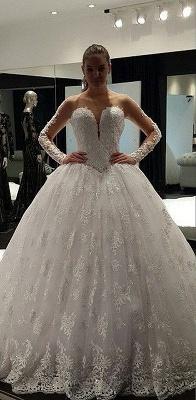 Fashion Long Sleeve Lace Ball Gown Wedding Dress Floor-Length_1