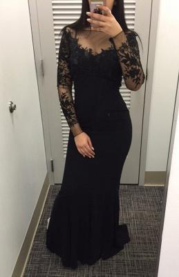 Elegant Black long Sleeve Evening Dress UK Mermaid Appliques On Sale HT380_1