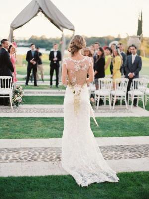 Newest Bodycon Cap Sleeve Wedding Dress V-neck Lace_4