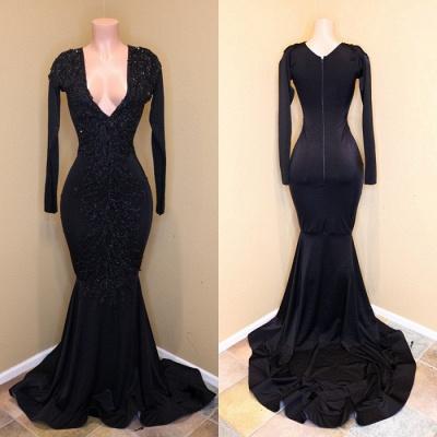 Long-sleeve v-neck prom Dress UK, evening Dress UK with beadings BA8203_3