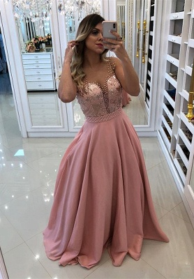 Luxury Pink Evening Dress UK | 2019 Long Prom Dress UK With Pearls_1