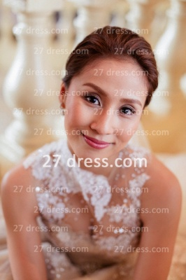 Train A-line Wedding Dresses UK Bridal Gowns with Sheer Cheap Tulle Buttons Sleeveless Applique Beaded Court_3