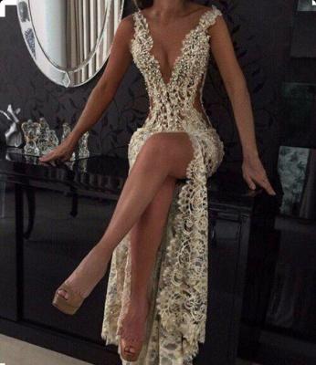 Elegant V-Neck Sleeveless Prom Dress UKes UK Lace Slit Beadings BA2786_2