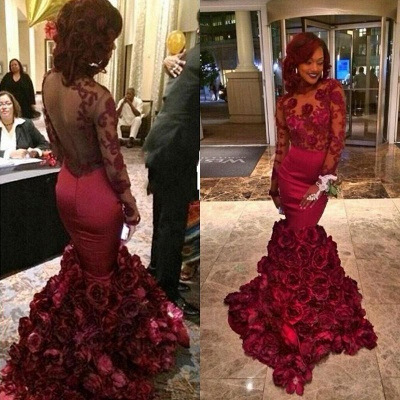 Long Sleeves Lace Prom Dress UK Flowers Mermaid Floor Length_2