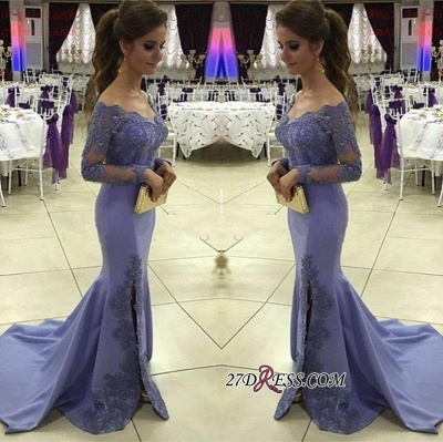 Appliques Off-the-Shoulder Long-Sleeves Side-Slit Sexy Mermaid Prom Dress UK BA4525_1