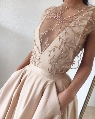 Cap-Sleeve Prom Dress UK | Beads Long Evening Gowns_4
