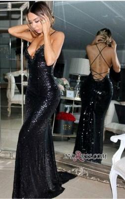 Black Mermaid Sleeveless Sweep-Train Sequined Elegant Prom Dress UK sp0302_3