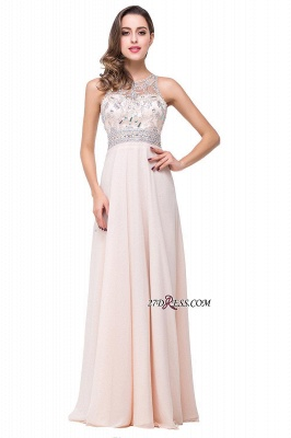 Chiffon Sleeveless Light-Champagne Long Crystals Prom Dress UKes UK BA6131_7