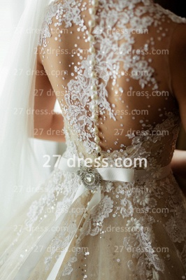 Train A-line Wedding Dresses UK Bridal Gowns with Sheer Cheap Tulle Buttons Sleeveless Applique Beaded Court_5