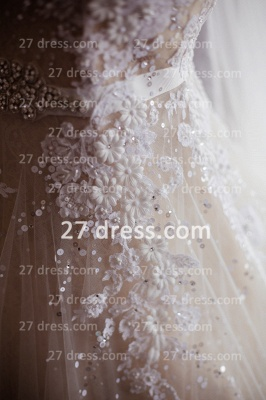 Train A-line Wedding Dresses UK Bridal Gowns with Sheer Cheap Tulle Buttons Sleeveless Applique Beaded Court_4