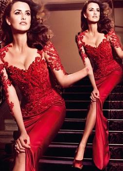 Hot Sale Red Lace Chiffon Evening Party Dress UKes UK Short Sleeve Prom Dress UKes UK on sale_3