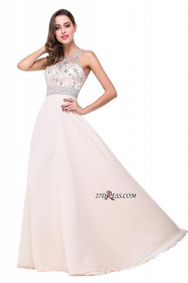 Chiffon Sleeveless Light-Champagne Long Crystals Prom Dress UKes UK BA6131_8