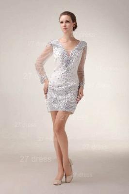 Mini V-Neck Sheath Homecoming Dress UKes UK Long Sleeve Crystal Cocktail Gowns_2
