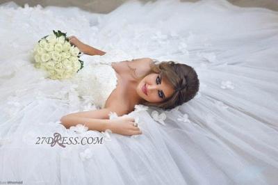 Elegant Sweetheart Sleeveless Tulle Wedding dress With Ball Gown Floor-length Flowers_2