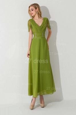 Newest V-neck Short Sleeve Evening Dress UK Chiffon Floor-length_1