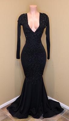 Long-sleeve v-neck prom Dress UK, evening Dress UK with beadings BA8203_1