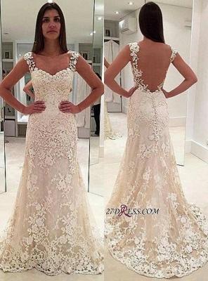 Backless Lace Straps Elegant Sexy Mermaid Sleeveless Wedding Dresses UK_2