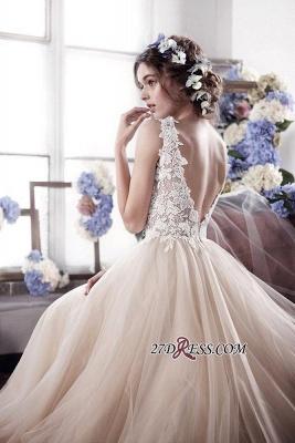 Sleeveless Romantic Tulle Vintage Appliques Wedding Dress_2