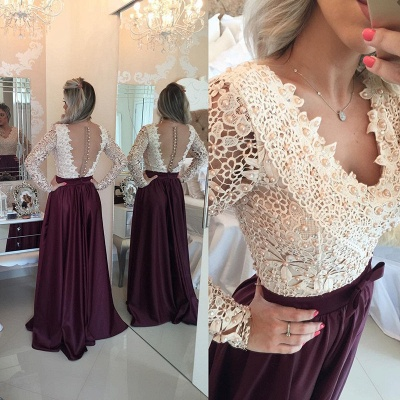 Stunning Long Sleeve Lace Pearls Prom Dress UKes UK Long Party Gowns BT0_4