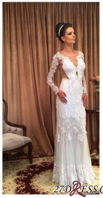 Long Floor-length Lace Sheath White Sleeve Sheath Wedding Dress_2