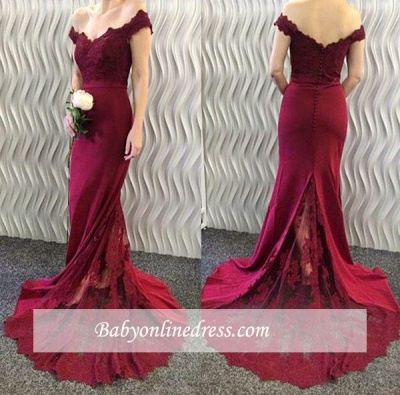 Burgundy Lace Appliques Long Off-the-Shoulder Mermaid Prom Dresses LY86_1