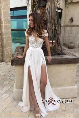 Chiffon Lace-Appliques Front-Split A-line Sexy Short-Sleeve Prom Dress UK_2