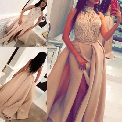 Luxury Halter High Neck Lace Evening Dress UK Slit Ruffles BA6712_3