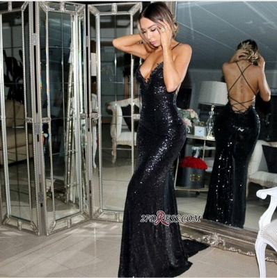 Black Mermaid Sleeveless Sweep-Train Sequined Elegant Prom Dress UK sp0302_1