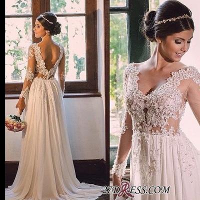V-neck Simple A-line Backless Lace  Sweep-Train Wedding Dress LPL029_1