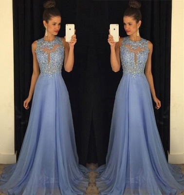 Beautiful Lace Appliques Sleeveless Prom Dress UK Long Chiffon Party Gowns AP0_3