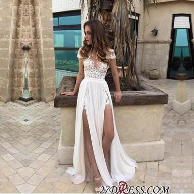 Chiffon Lace-Appliques Front-Split A-line Sexy Short-Sleeve Prom Dress UK_1