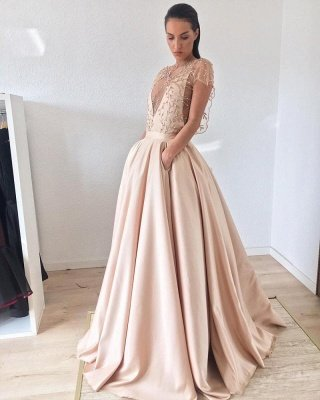 Cap-Sleeve Prom Dress UK | Beads Long Evening Gowns_3