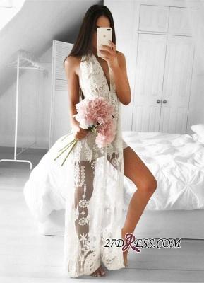 Sleeveless Front-Split Mermaid V-neck Lace Elegant Floor-length Prom Dress UK_1