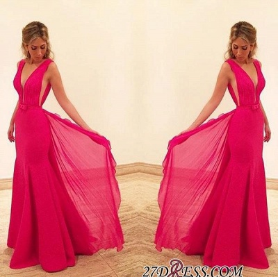Bowknot Elegant Mermaid Sleeveless V-Neck Red Prom Dress UK_2