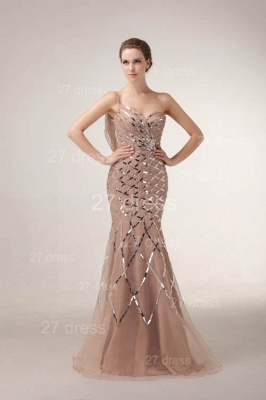 One Shoulder Mermaid Prom Gowns Sequined Sweep Train Evening Dress UKes UK_1