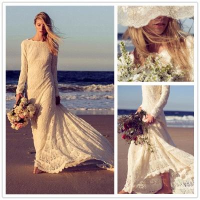 Newest Long Sleeve Lace Wedding Dress Court Train_6
