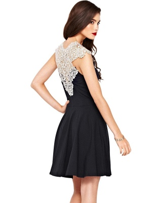 Beautiful Lace Cap Sleeve Short Prom Dress UK A-Line Homecoming Dress UK_2