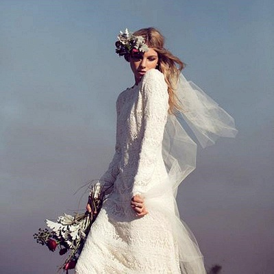 Newest Long Sleeve Lace Wedding Dress Court Train_4