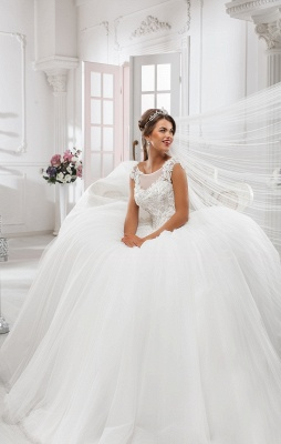 Elegant Illusion Cap Sleeve Tulle Wedding Dress Ball Gown With Lace Appliques_1