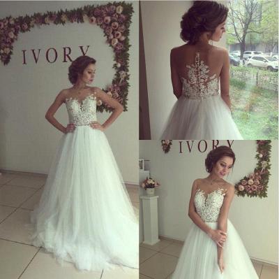 Elegant Sleeveless Lace Appliques Wedding Dress Tulle Zipper Back_4