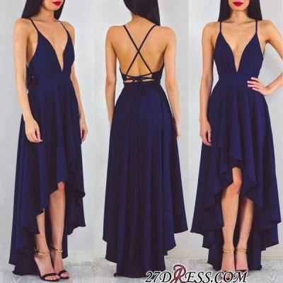 A-line Spaghetti-StrapS Hi-Lo Sleeveless Elegant Prom Dress UK_1