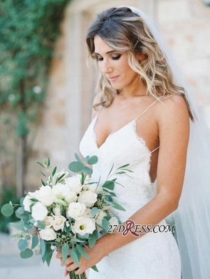 Long Gorgeous Spaghetti-Strap Sleeveless Backless Lace Wedding Dress_3